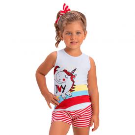 conjunto infantil menina regata unicornio branco vermelho 1394 10461