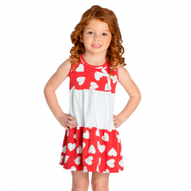 vestido infantil menina recortes coracoes vermelho 1395 10463