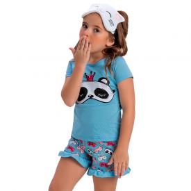 pijama infantil menina panda azul claro 1405 10473