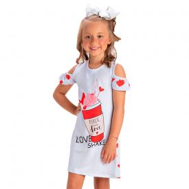vestido infantil feminino neoprene milk shake branco 1412 10475