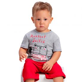 conjunto bebe menino gatinho mescla vermelho 1420 10487
