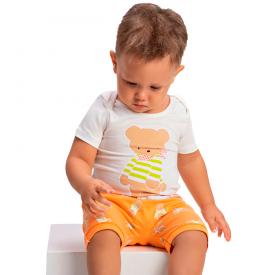 conjunto bebe menino body urso off white laranja 1426 10494