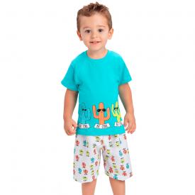 conjunto infantil menino camiseta e bermuda tactel cactus verde agua 1429 10499