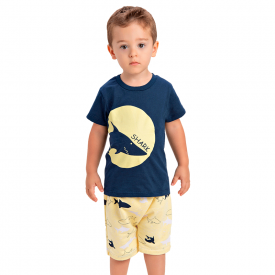 conjunto infantil menino shark marinho amarelo 1430 10503