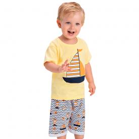 conjunto infantil menino barco vela amarelo 1436 10507