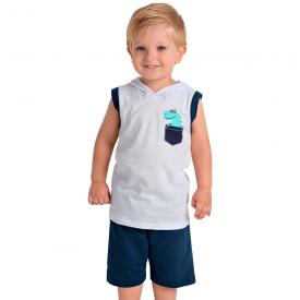 conjunto infantil menino regata capuz dino branco marinho 1438 10512