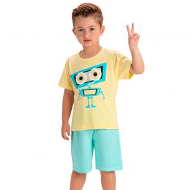 conjunto infantil menino robo amarelo verde agua 1449 10518
