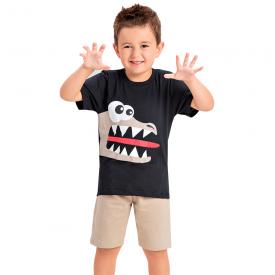 conjunto infantil menino jacare preto marfim 1452 10526