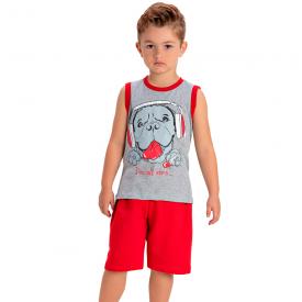 conjunto infantil menino regata cachorro mescla vermelho 1455 10530