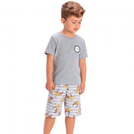 conjunto infantil camiseta mescla e bermuda listrada 1421 1432 1441 10531