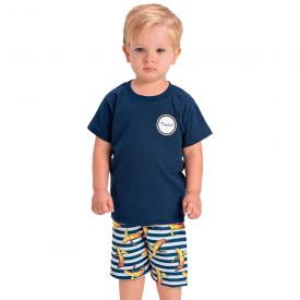 conjunto infantil camiseta marinho e bermuda listrada 1421 1432 1441 10532