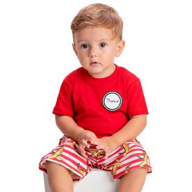 conjunto infantil camiseta vermelha e bermuda listrada 1421 1432 1441 10533
