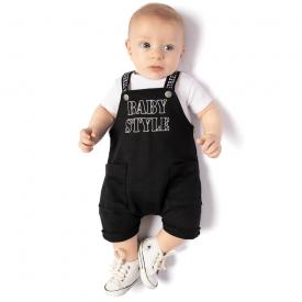 conjunto jardineira baby style preta e body branco 4124 10688