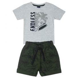 conjunto infantil masculino camiseta mescla e bermuda verde oliva 5373 10696
