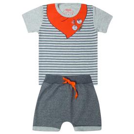 conjunto bebe menino pirata mescla e laranja 12179 10397