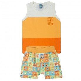 conjunto infantil menino marfim e laranja 12190 10406