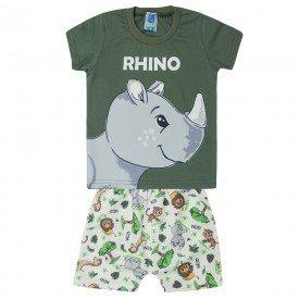 conjunto infantil camiseta rhino verde e saruel estampada 1200 10417
