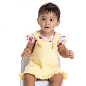 conjunto bebe menina salopete e blusa frutinhas rosa amarelo 5101 10616