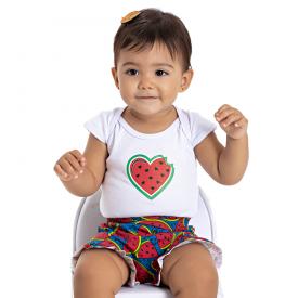 conjunto bebe menina body e shorts melancia branco marinho 5104 10621