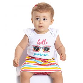 conjunto bebe menina body e short saia hello branco goiaba 5109 10627