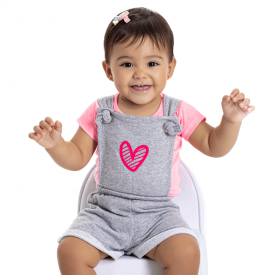 conjunto bebe menina jardineira e blusa coracao mescla pink 5113 10631
