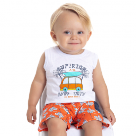 conjunto bebe menino regata surf branco laranja 5172 10550