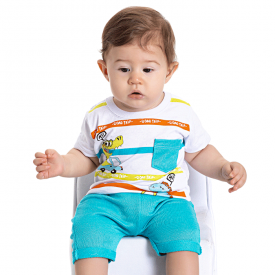 conjunto bebe menino camiseta dino e saruel branco azul 5174 10552