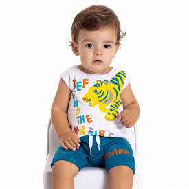 conjunto bebe menino regata divertida e saruel branco azul 5176 10555