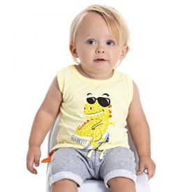 conjunto bebe menino regata dino e saruel amarelo mescla 5181 10563
