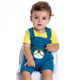 conjunto bebe menino jardineira urso e camiseta azul verde 5185 10575