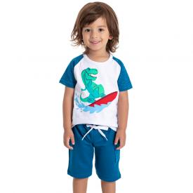 conjunto infantil masculino dino surfista branco azul 5194 10584