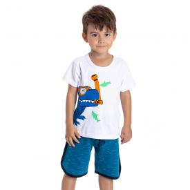 conjunto infantil masculino dino mergulhador branco azul 5195 10585