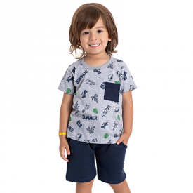 conjunto infantil masculino summer mescla marinho 5196 10588