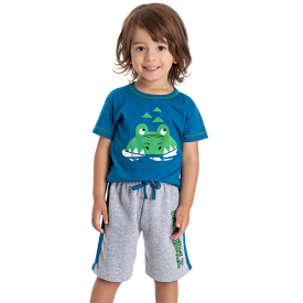 conjunto infantil menino jacare divertido azul mescla 5198 10590