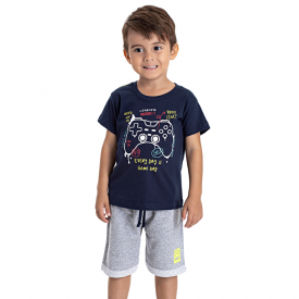 conjunto infantil menino game marinho mescla 5200 10591
