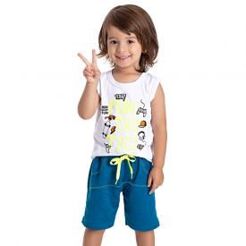 conjunto infantil menino regata fun branco azul 5201 10592
