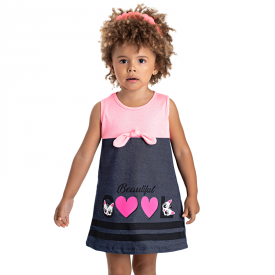 vestido infantil menina laco pink marinho 5133 10645