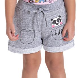 shorts infantil menina panda mescla 5136 10649