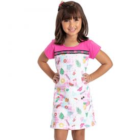 vestido infantil menina desenhos pink 5151 10656