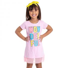 vestido infantil menina wonderful rosa claro 5153 10657
