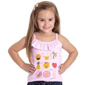 blusa infantil menina alcinha rosa claro 5156 10659