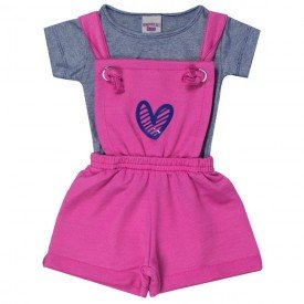 conjunto bebe menina jardineira e blusa coracao pinkmarinho 5113 10632