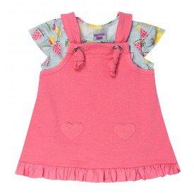 conjunto bebe menina salopete e blusa frutinhas azul infinity e rosa vegas 5101 10618