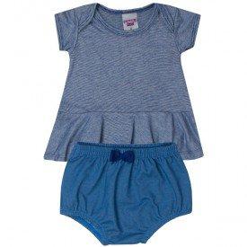 conjunto bebe menina blusa e tapa fraldas marinhoazul claro 5114 10635