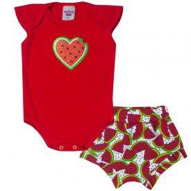 conjunto bebe menina body vermelho e shorts melancia branco 5104 10622
