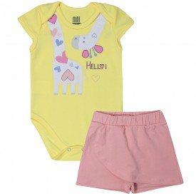 conjunto bebe menina body e shorts saia girafa amarelomelancia kw017 10352
