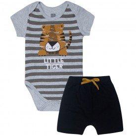 conjunto bebe menino little tiger body e bermuda saruel mesclapreto kw413 10358