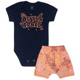 conjunto bebe menino space body e bermuda saruel marinholaranja kw414 10360
