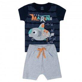 conjunto infantil menino submarine camiseta e saruel marinhomescla kw512 10369