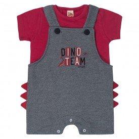 conjunto bebe menino jardineira dino mescla e camiseta vermelha 7212 10262